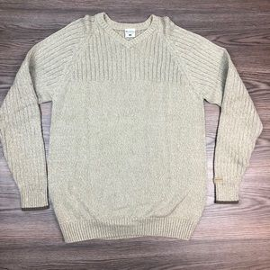 Columbia Tan Cable Knit V-Neck Sweater L